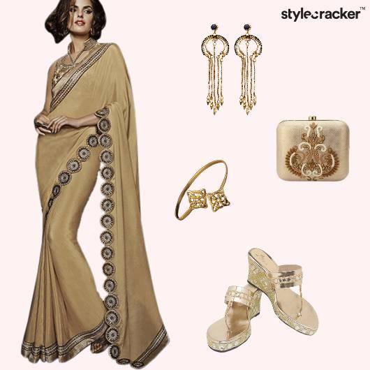 Saree Indian Ethnic Wedges Gold  - StyleCracker