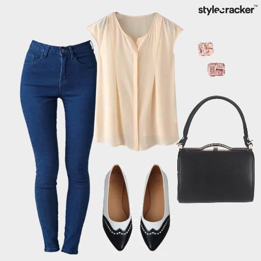 Jeans Pastel Top Flats Workwear  - StyleCracker