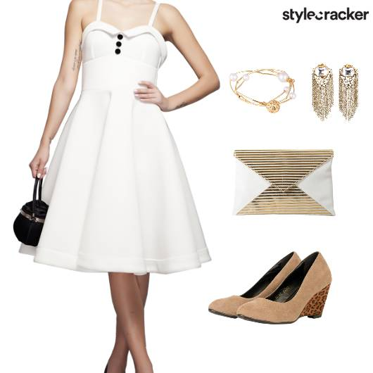 Pleated Dress Nude Wedges Clutch Accessories - StyleCracker