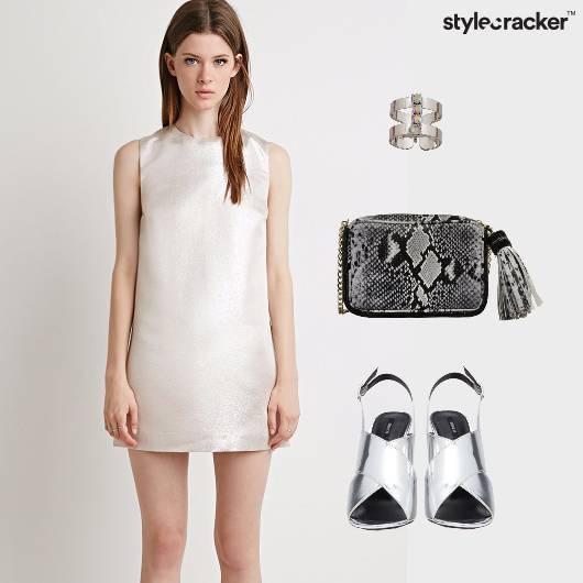 Metallic Shift Dress Sling Snakeskin  - StyleCracker