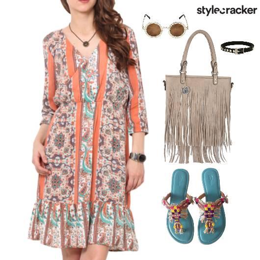 Fringe Bag Flats Printed Dress Shopping - StyleCracker
