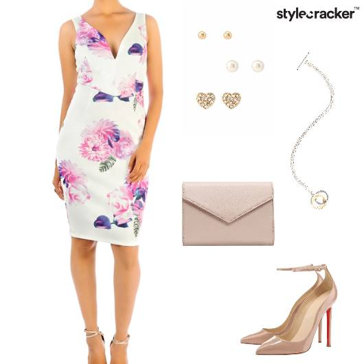 Floral Bodycon Dress Pumps Envelopeclutch Studs Party - StyleCracker