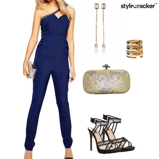 Jumpsuit Heels Clutch Shoulderdusters Party - StyleCracker