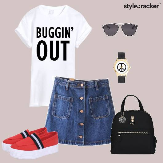 Tshirt Denimskirt Backpack Backtoschool Casual - StyleCracker