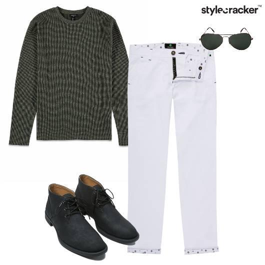 Sweatshirt Chinos Shoes Aviators Casual - StyleCracker