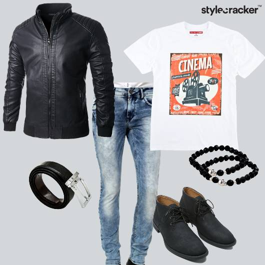 Leather Jacket Tshirt Jeans Shoes Beaded Bracelet Travel - StyleCracker