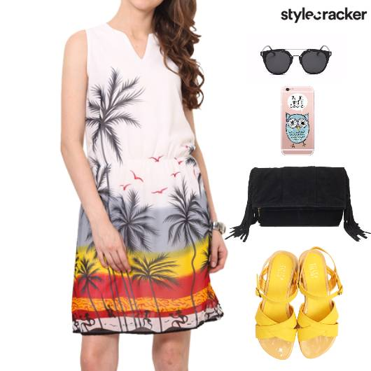 Printed Dress Wedge Heels Weekend - StyleCracker