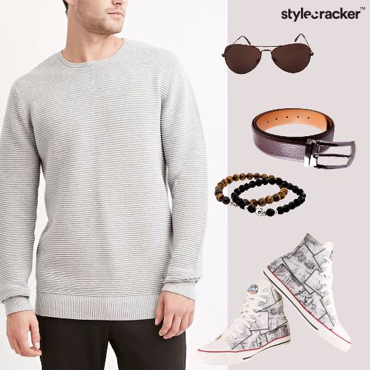 Sweatshirt Chinos Hightops Beadedbracelets Sunglasses Casual - StyleCracker