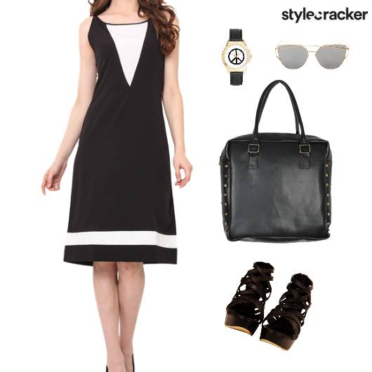 ColorBlock Dress Wedges Accessories Dinner - StyleCracker