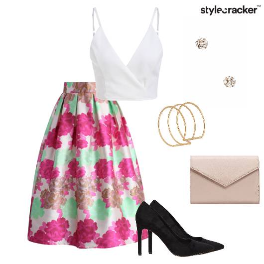 Croptop Skirt Pumps Envelopeclutch Pumps Party - StyleCracker