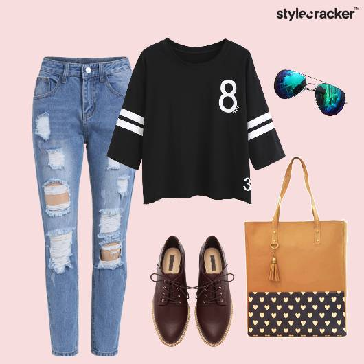 Top Ripped Denims Bag Oxfords Casual - StyleCracker