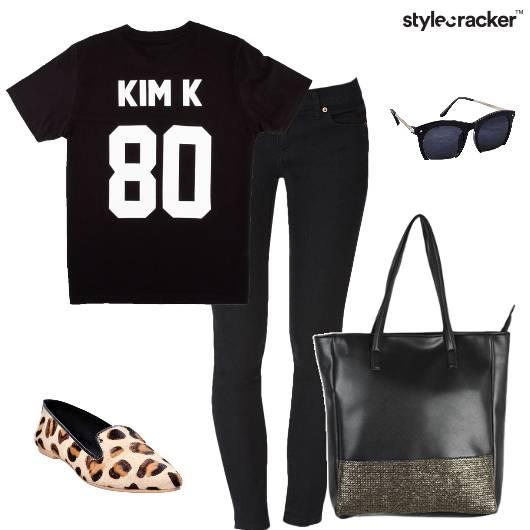 Leopardprint Black Casual SloganTee Weekend - StyleCracker