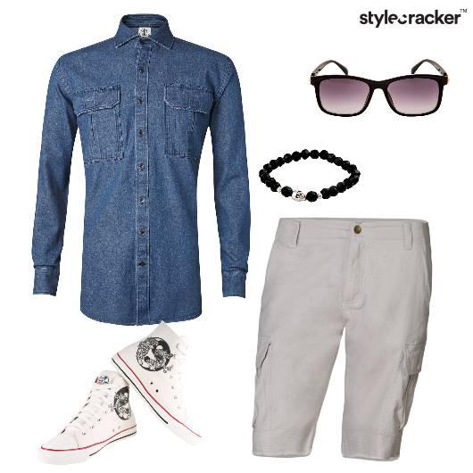 DenimShirt LaceUps Shorts Casual  - StyleCracker