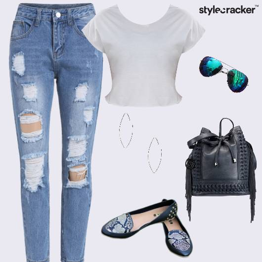 Casual College RippedDenims BucketBag Fringes - StyleCracker