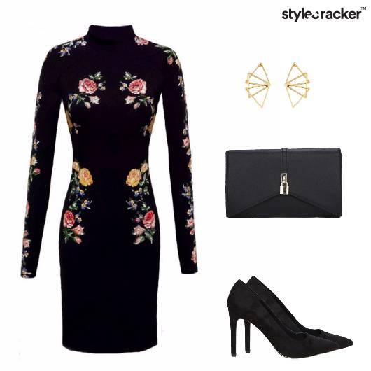 Black Floral Bodycon Cocktail  - StyleCracker