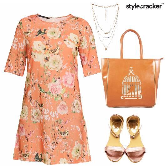 Floral Peach Print Summer Dress Casual - StyleCracker