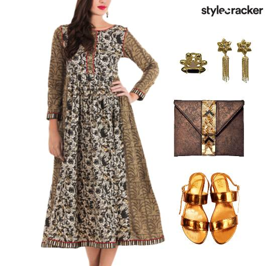 Printed Dress Ethnic Fusion Accessories - StyleCracker