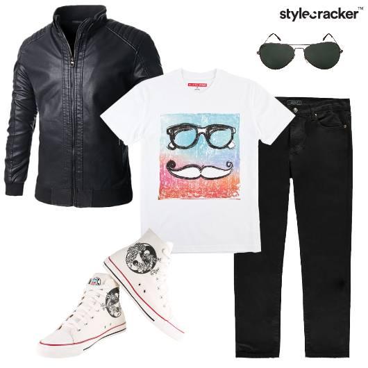 Leatherjacket Tshirt jeans Higtops Edgy - StyleCracker