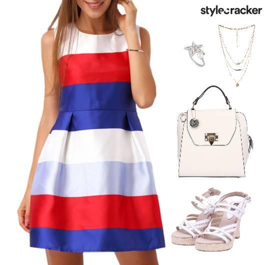 StripesAndStar FitAndFlare Dress Lunch - StyleCracker