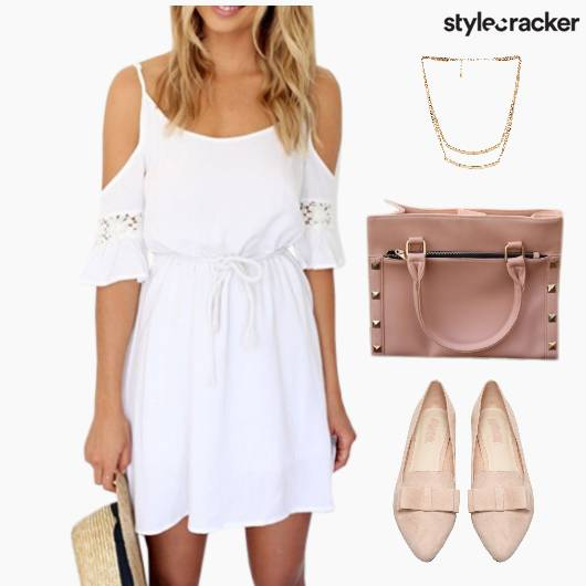 ColdSholder Dress BalletFlats Lunch LayeredNecklace - StyleCracker