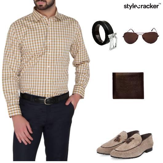 Checks Shirt Pants Belt Formal - StyleCracker