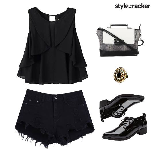 Blouse Top Ripped Shorts SlingBag - StyleCracker