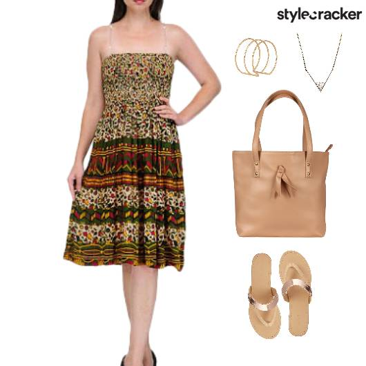 Printed Dress Flats ToteBag Accessories - StyleCracker