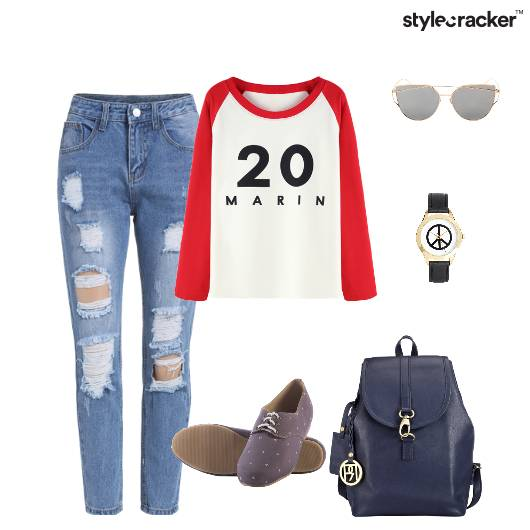 Tshirt Distressedjeans Oxfords Backpack Casual - StyleCracker