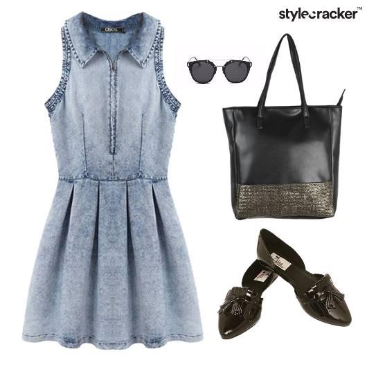 Denim Dress Tote Bag BalletFlats Footwear - StyleCracker