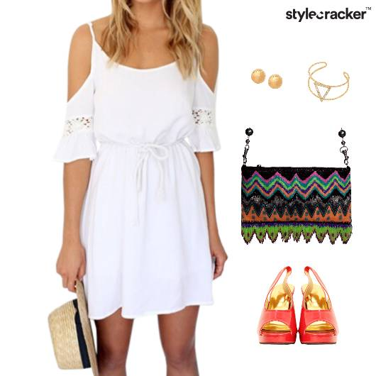 ColdShoulder Dress Wedges Accessories - StyleCracker
