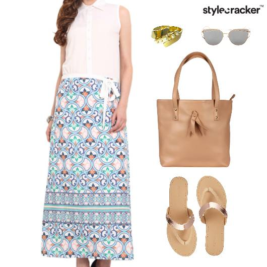 Printed Dress Maxi Flats Nude Tote Bag - StyleCracker