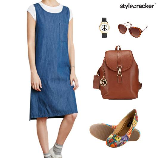 Denim Dress BackPack BalletFlats - StyleCracker