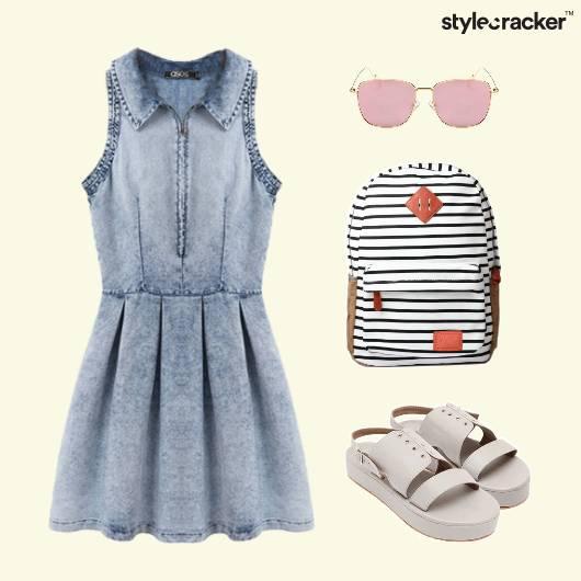 Denim Flared Dress Backpack Casual - StyleCracker