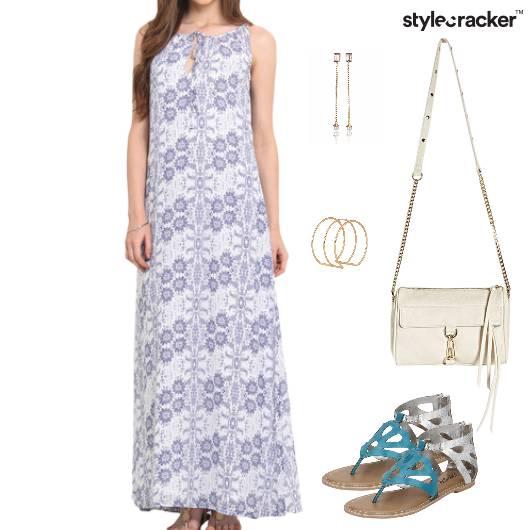 Printed Dress Maxi Fluent Flats - StyleCracker