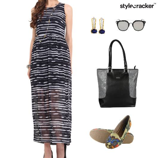 Printed Dress Maxi  Ballet Flats - StyleCracker