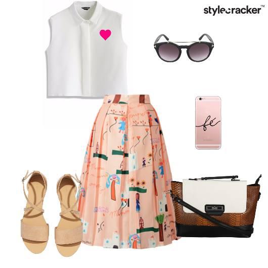 Croptop Skirt Bag Flats Bag Lunch - StyleCracker
