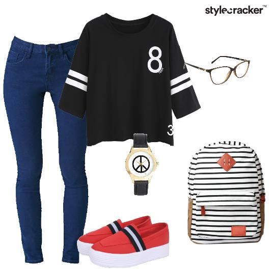 Tshirt Jeans Backpack Slipons Casual School - StyleCracker