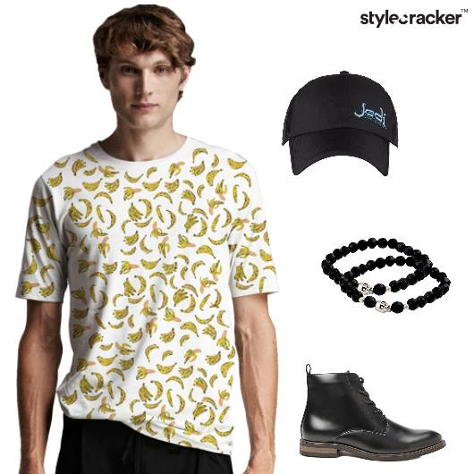 Printed Tshirt Shoes Cap BeadedBracelet Casual - StyleCracker