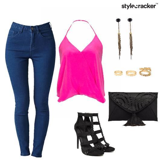 HalterNeck MidRise Jeans Date Night  - StyleCracker