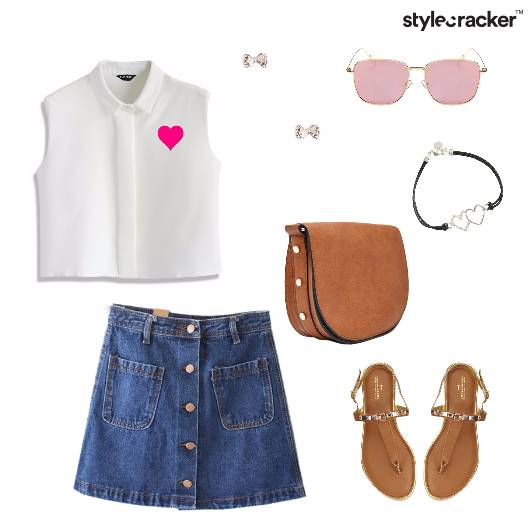 CropTop Denim Skirt Summer Lunch  - StyleCracker