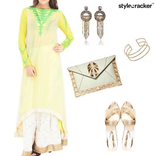 Indian Pastel Lemon Print Festive - StyleCracker