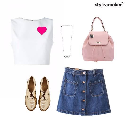Crop Denim Skirt Backpack College - StyleCracker