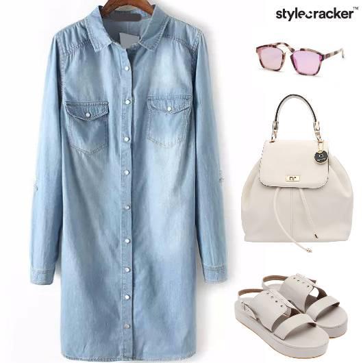 Denim Dress White Casual Backpack - StyleCracker