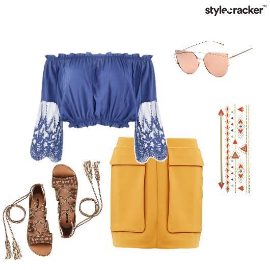 MiniSkirt OffShoulder TieUpFlats Summer  - StyleCracker