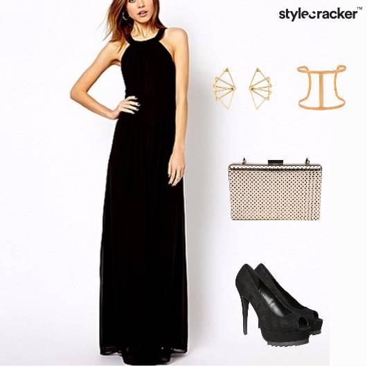 Maxi Dress Cocktail Box Clutch Peeptoes  - StyleCracker