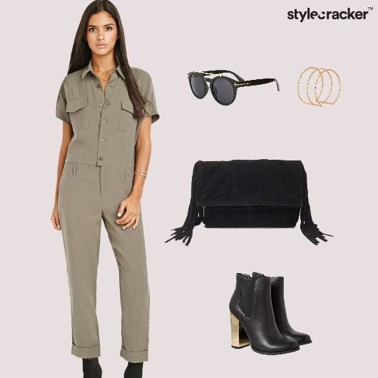 Jumpsuit  Fringe Bag Sunglasses - StyleCracker
