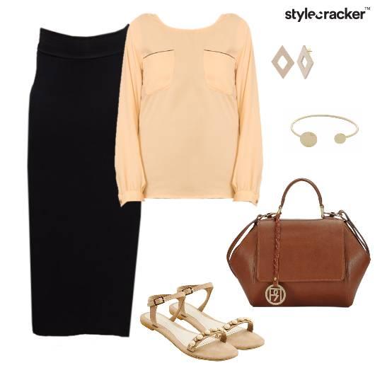Blouse Skirt Work Nude Pastel - StyleCracker