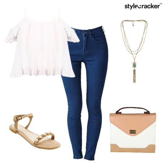 White ColdShoulder Jeans SmartCasual Top - StyleCracker