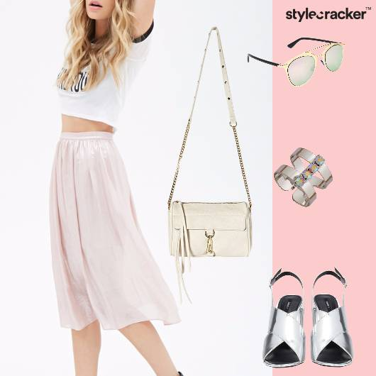 Metallic White Pretty MidiSkirt Brunch Weekend - StyleCracker