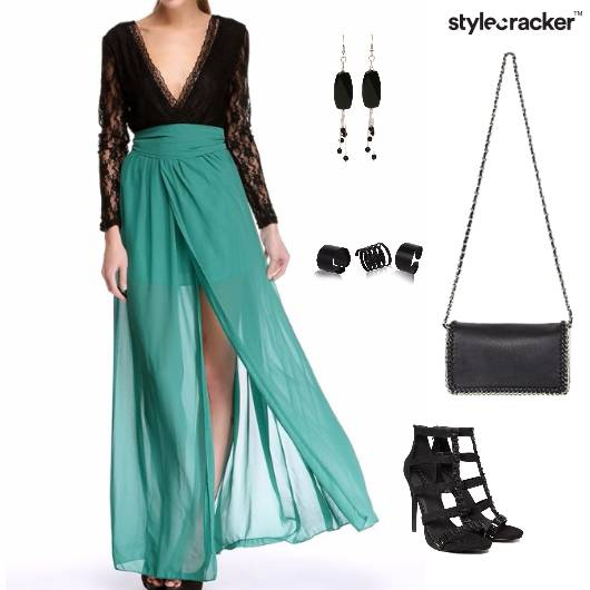 VNeck Slit Party Cocktail Gown - StyleCracker